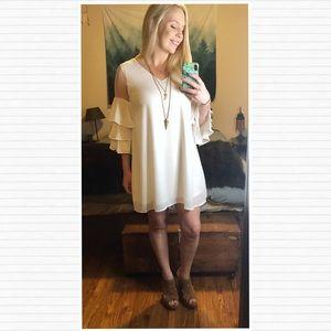 Dresses & Skirts - HP🕊Sheer Shoulder Ruffled Swing Dress • Off White